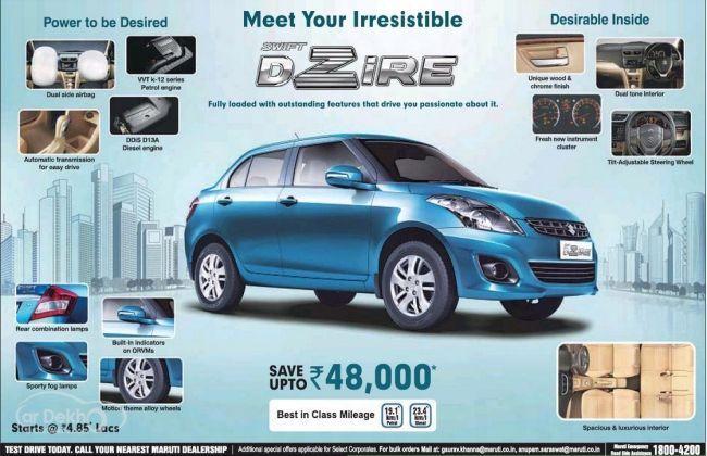 Maruti Swift Dzire offering discounts; 'Hyundai Xcent' effect?
