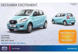Datsun GO Offered with Benefits upto Rs 30,000