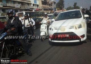 Toyota's New C Segment Car Vios Spied During Its Test Runs in Bangalore