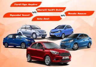 Ford Figo Aspire Vs Dzire Vs Xcent Vs Zest Vs Amaze
