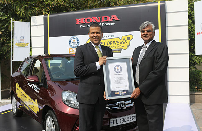 Honda Amaze creates Guinness World Record: Longest journey by a car in a single country