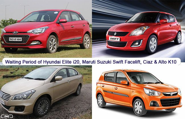 Waiting Period of Hyundai Elite i20, Maruti Suzuki Swift Facelift, Ciaz and Alto K10