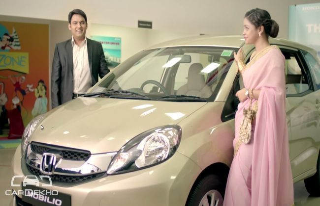Kapil Sharma and his onscreen wife with the Honda Mobilio