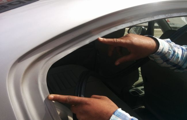 Accidental car with repair work done (without punching holes)