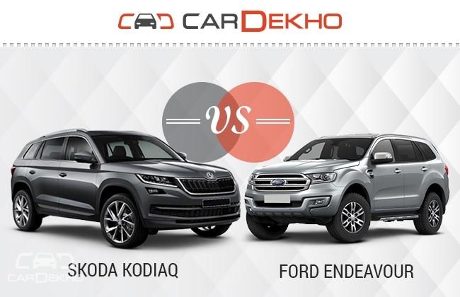 Skoda Kodiaq Vs Ford Endeavour Spec Comparison