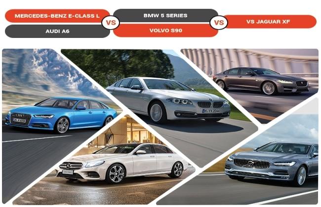 MercedesBenz EClass LWB Vs BMW 5 Series Vs Audi A6 Vs Jaguar XF